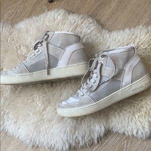 Mk hightop white mesh sneaker